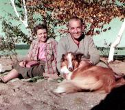 Howard, Helen, and their Collie at their cabin in Northern Michigan, 1956