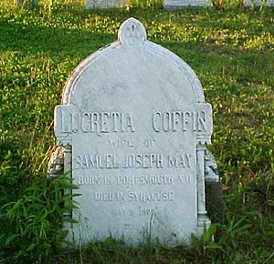 Headstone of Lucretia Coffin, wife of Samuel May